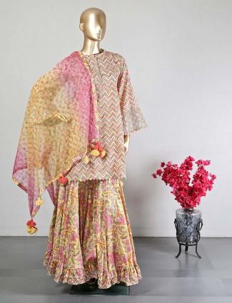 Pink designer cotton sharara salwar kameez for weddings