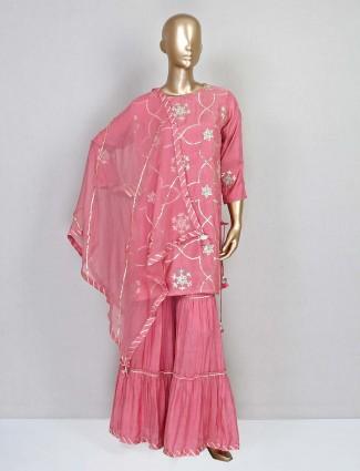 Pink designer cotton silk sharara suit