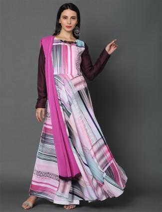 Pink designer georgette anarkali salwar suit