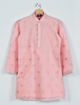 Pink festive function kurta suit in cotton