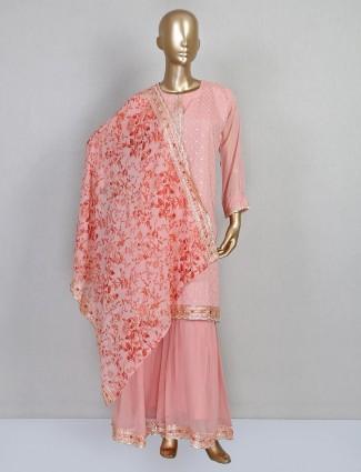 Pink festive sharara suit design in georgette