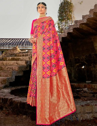 Pink festive wear banarasi silk saree for women