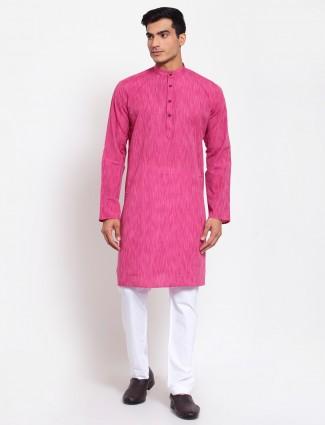 Pink festive wear cotton kurta suit for men
