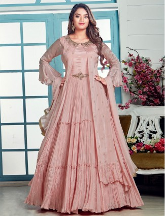 Pink georgette anarkali suit for party session