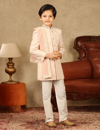Pink georgette fabric boys sherwani for wedding