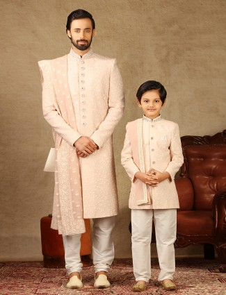Pink georgette fabric father and son sherwani