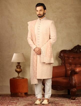 Pink georgette fabric sherwani for wedding