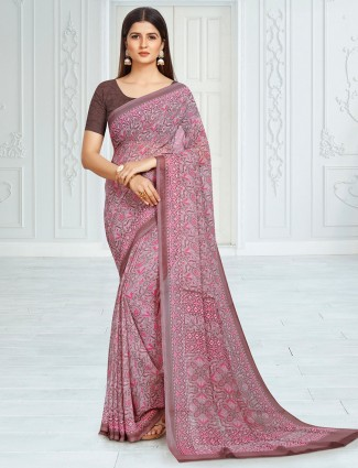 Pink georgette festive functions printed saree