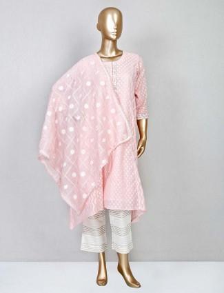 Pink georgette festive wear pant suit for women