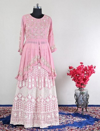 Pink georgette lovely lehenga style suit for wedding
