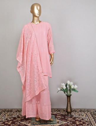 Pink georgette palazzo suit for festive occasion