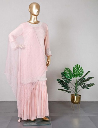 Pink georgette party wear salwar kmaeez
