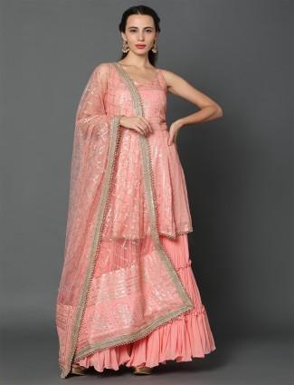 pink georgette punjabi sharara suit for festive wear
