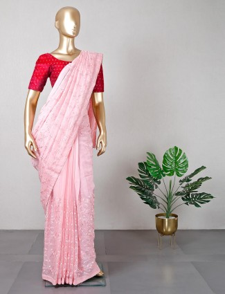 Pink georgette saree for women