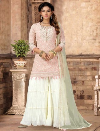 Pink georgette sharara suit for wedding session