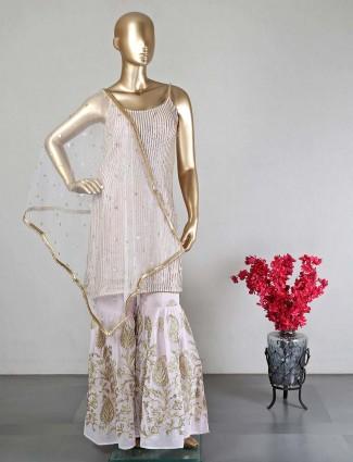 Pink georgette wedding days sharara suit