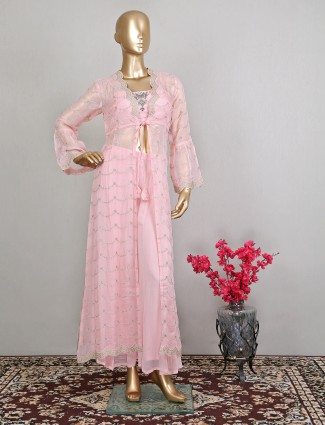 Pink georgette wedding event palazzo suit