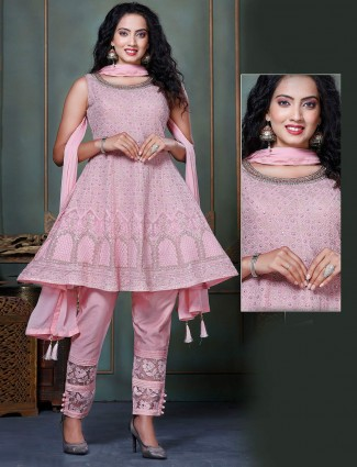 Pink georgette wedding occasions pant suit