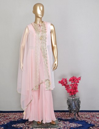 Pink georgette wedding sessions palazzo suit