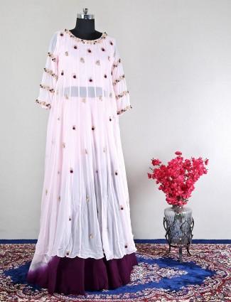 Pink georgette wedding wear lehenga style suit