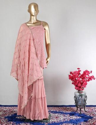 Pink georgette wedding wear salwaer kameez