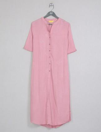 Pink gorgeous cotton casual wear kurti for women