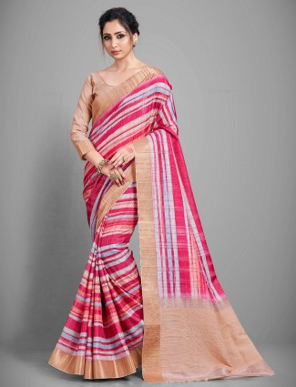 Pink handloom festive wear cotton sari