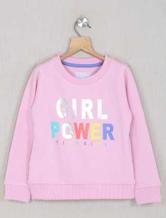 Pink hue casual event cotton top for girls
