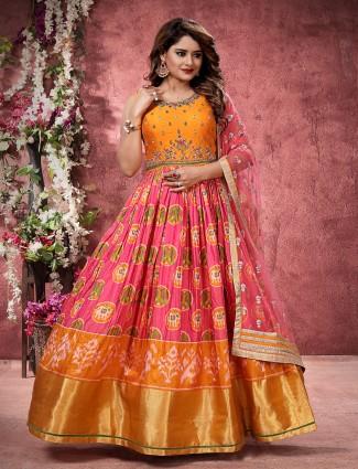 Pink hue pretty floor length anarkali salwar suit in patola silk