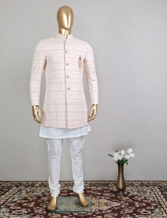 Pink indo fusion men's sherwani for wedding function