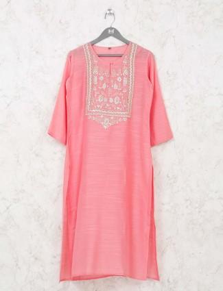 Pink kurti in cotton fabric