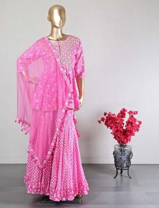Pink latest cotton wedding wear sharara suit