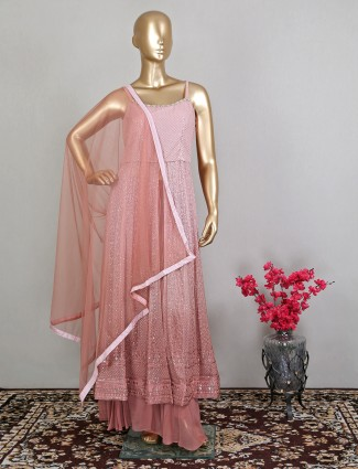 Pink lavish georgette palazzo suit for wedding