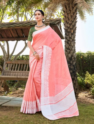 Pink linen saree for festival