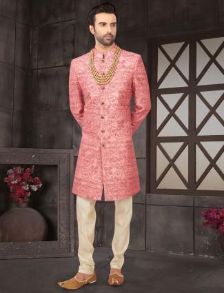 Pink mens cotton silk indo western