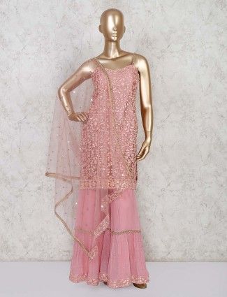 Pink net sharara suit for party