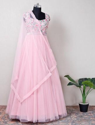 Pink net wedding collection anarkali suit