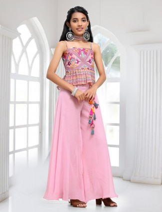 Pink palazzo suit for girls with thread work details