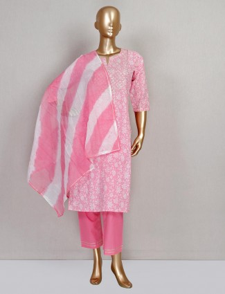 Pink pant style salwar suit for festive in cotton