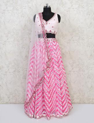 Pink party wear cotton silk lehenga for women