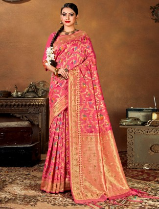Pink patola silk designer wedding ceremony saree