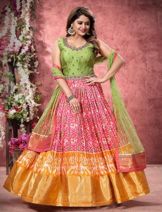 Pink patola silk floor length anarkali salwar suit