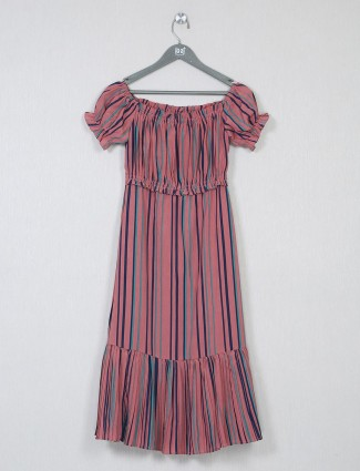 Pink poly cotton striped dress for women
