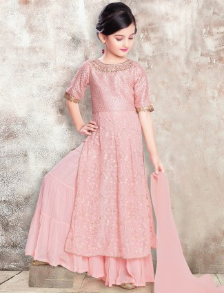 Pink punjabi style wedding palazzo suit for girls in georgette