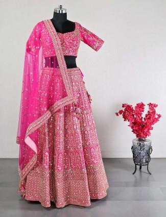 Pink raw silk designer lehenga choli for weddings