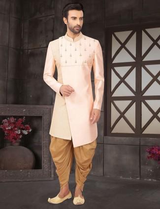 Pink raw silk indo western for wedding function
