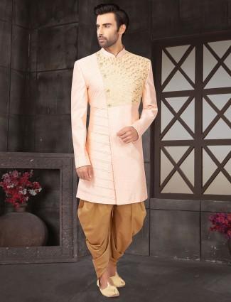 Pink raw silk indo western wedding wear