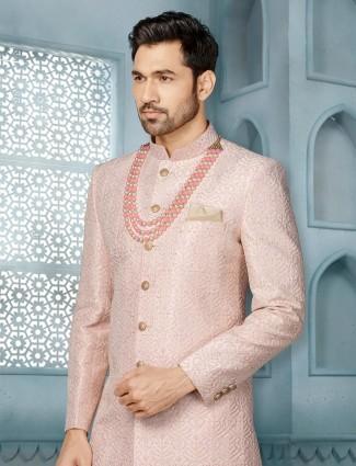 Pink raw silk mens indo western