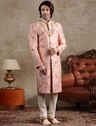 Pink raw silk sherwani for wedding