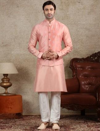 Pink raw silk waistcoat set for men